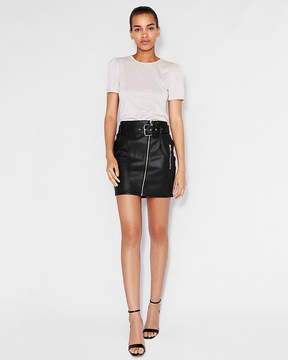 Express High Waisted (Minus The) Leather Belted Mini Skirt