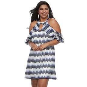 Candies Juniors' Plus Size Candie's Halter Cold-Shoulder Dress