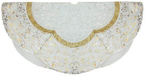 Asstd National Brand 48 White Sequin and Metallic Silver and Gold Ombre Flourish Scallop Christmas Tree Skirt