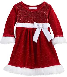 Bonnie Jean Toddler Girl Sequin Bow Santa Dress
