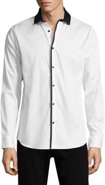 Karl Lagerfeld Men's Nehru Collar Sportshirt