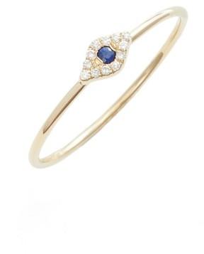 Ef Collection Women's Evil Eye Diamond & Sapphire Stack Ring