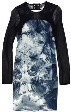 Emilio De La Morena Abstract Print Mesh Long Sleeve Dress