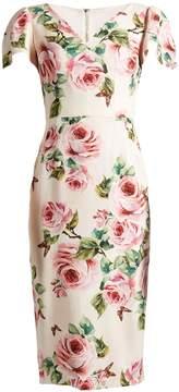 Dolce & Gabbana Rose-print V-neck stretch-cady dress
