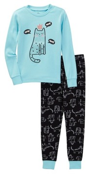Petit Lem Meow Kitty Queen Long Sleeve Pajama Set (Toddler & Little Girls)