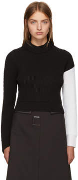 Cédric Charlier Black and White Asymmetric Colorblock Sweater