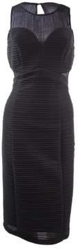 GUESS Women's Mesh Illusion Sleeveless Dress (8, Black)