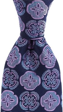 Murano Pedal Medallion Print Traditional Silk Tie