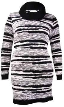 Calvin Klein Women's Cowl Eyelash Striped Sweater Dress (XL, Black/Winter White)