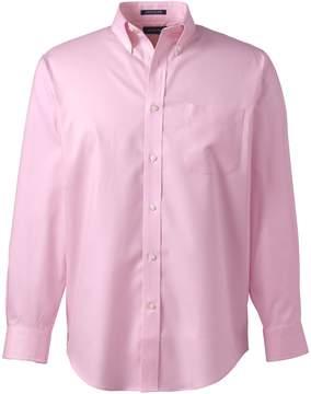 Lands' End Lands'end School Uniform Men's Long Sleeve Buttondown No Iron Pinpoint Shirt