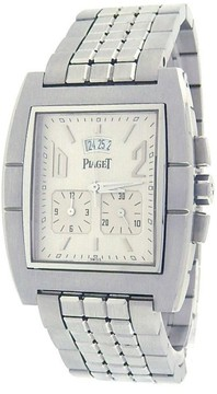 Piaget Upstream Chronograph 27150 Stainless Steel Quartz Silver Dial 40mm Mens Watch