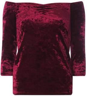 Dorothy Perkins Burgundy Velvet Bardot Top