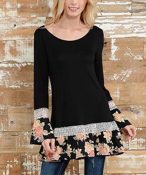 Celeste Black Floral Bell-Sleeve Tunic - Women