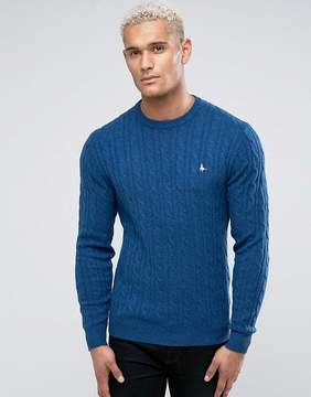 Jack Wills Marlow Merino Cable Knit Crew Neck Sweater In Airforce Blue