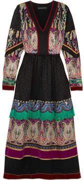 Etro Fringed Embellished Silk-jacquard Midi Dress - Black