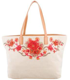 Tory Burch Rodeo E/W Beaded Canvas Tote - NEUTRALS - STYLE
