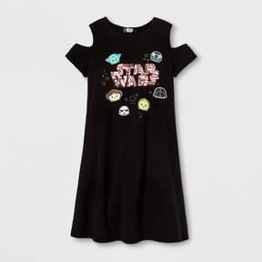 Star Wars Girls' Cold Shoulder Skater Dress - Black