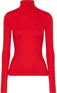 CALVIN KLEIN 205W39NYC - Embroidered Cotton-jersey Turtleneck Sweater - Crimson