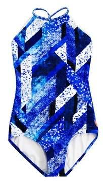 Seafolly Blue Swimsuit Children Indie Dreamer High Neck.