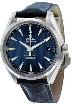 Omega Aqua Terra Blue Dial Blue Alligator Leather Men's Watch 23113422103001