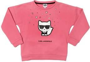 Karl Lagerfeld Choupette Printed Cotton Sweatshirt