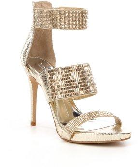 Gianni Bini Jessina Jeweled Metallic Stiletto Dress Sandals