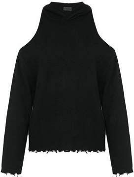 RtA Cold-Shoulder Distressed Cashmere Hooded Sweater