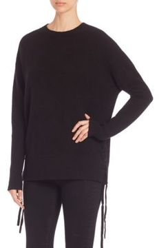 RtA Arianne Lace-Up Cashmere Knit Sweater