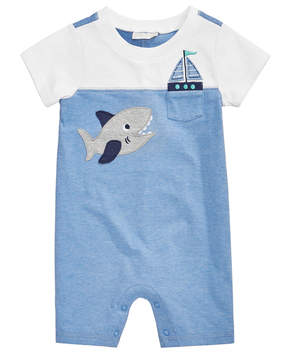 First Impressions Colorblocked Shark Romper, Baby Boys, Created for Macy's