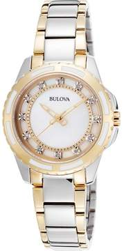 Bulova Watches Womens Diamond Two-Tone Stainless Steel and Mother of Pearl Dial