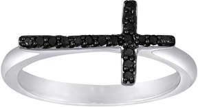 Black Diamond FINE JEWELRY 1/10 CT. T.W. Color-Enhanced Mini Sideways Cross Ring