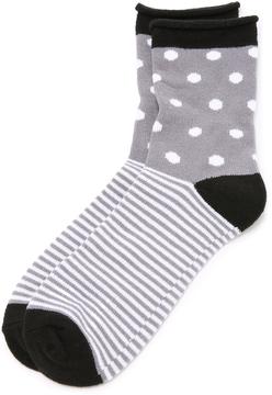 Plush Dot Stripe Rolled Fleece Socks