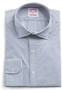 Hamilton Navy and White Stripe Poplin Shirt