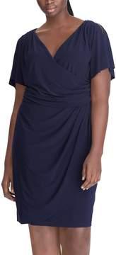 Chaps Plus Size Surplice Faux-Wrap Dress