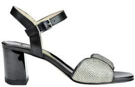Manas Design Women's Black Leather Sandals.