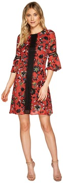 Christin Michaels Esther Printed Dress with Lace Inset Women's Dress