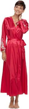 Flora Nikrooz Flora By Women's Flora by Lace-Trim Charmeuse Long Robe