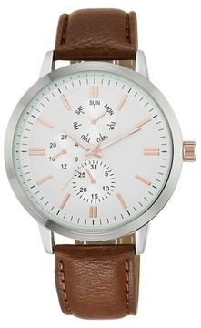 Mossimo Men's Analog Strap Watch Silver/Brown