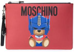 Moschino large Saffiano bear pouch