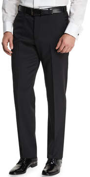 Armani Collezioni Basic Flat-Front Wool Trousers, Black
