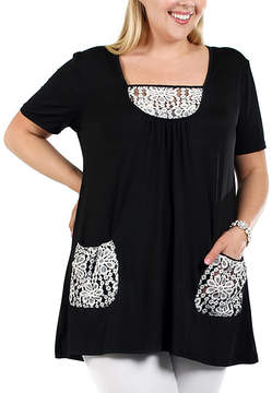 Lily Black & White Floral Lace Scoop Neck Tunic - Women