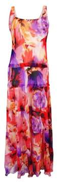 Nine West Women's Floral-Print Tiered Maxi Dress (Tropical Punch Multi, 8)