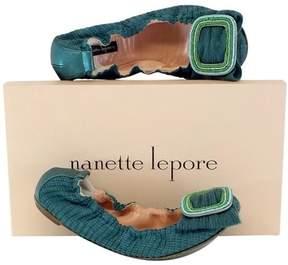Nanette Lepore Teal Knit Beaded Flats