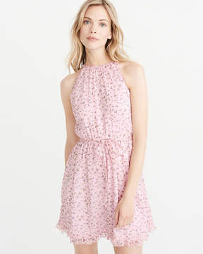 Abercrombie & Fitch High-Neck Floral Chiffon Dress