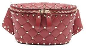 Valentino Rockstud Spike Quilted Leather Belt Bag - Womens - Burgundy