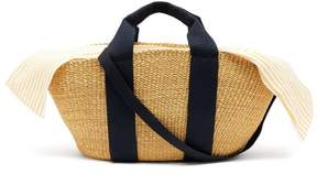 Muun George Capri Canvas And Woven Straw Bag - Womens - Yellow Stripe