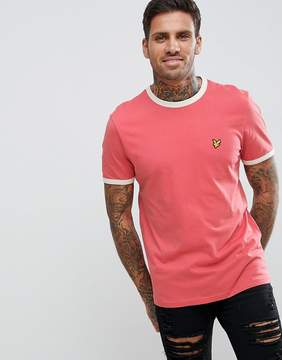 Lyle & Scott Crew Neck Ringer T-Shirt In Pale Pink