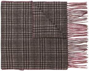 Canali checked contrast scarf