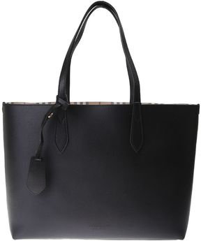 Burberry Reversible Leather And Canvas Medium Tote Bag - BLACK - STYLE
