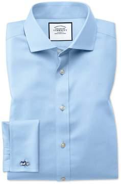 Charles Tyrwhitt Slim Fit Spread Collar Non-Iron Twill Sky Blue Cotton Dress Shirt Single Cuff Size 14.5/32